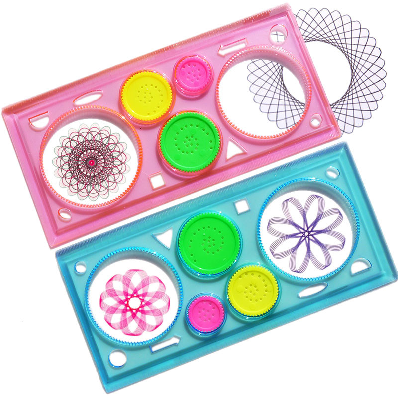United New 2pcs/set Spirograph Geometric Ruler Learning Drawing Tool Stationery For Student Drawing Set Durable Service Rulers