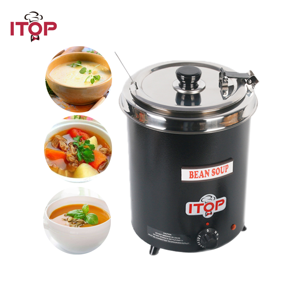 все цены на ITOP Electric 5.7L Soup Ketter Wet Heat Food Warmer Commercial Black Stainless Steel Pot For Buffet Restaurant онлайн