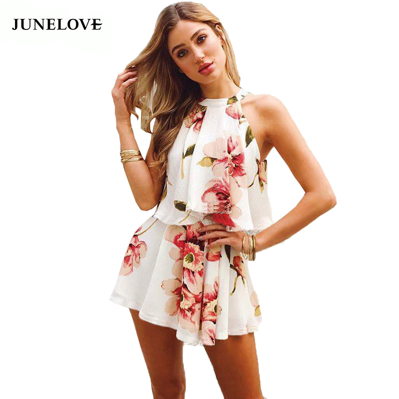 JuneLove 2018 summer women floral printed playsuits halter 2 pieces tops and shorts sexy jumpsuits loose clubwear bow playsuits