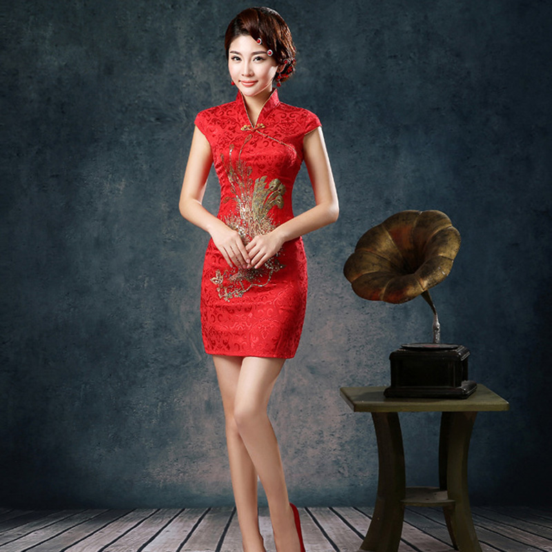 2015 Traditional Vintage Chinese Women Satin Short Sleeve Slim Cheongsam Qipao Dress # 78925  girl