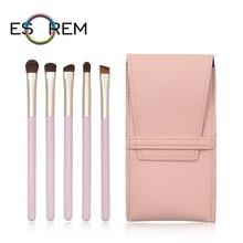 ESOREM 5pcs Wood Handle Eye Makeup Brushes Set With Bag Stippling Eyebrow Brush Short Shader Flap Top Pinceaux Maquillage MY0501