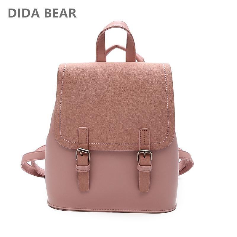 DIDABEAR Leather Small Backpack Women Backpacks Female School Bags For Girls Fashion Travel Bag Black Pink Brand