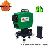 Бесплатная доставка! 3D 12 линий зеленый Лазерные уровни наливные 360 горизонтальный и вертикальный крест супер мощный лазерных линий