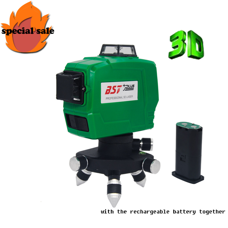 FREE SHIPPING!!! 3D 12Lines Green Laser Levels Self-Leveling 360 Horizontal And Vertical Cross Super Powerful Laser Beam Line