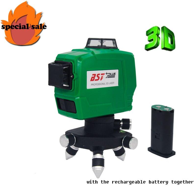 LIVRAISON GRATUITE!!! 3D 12 Lignes Vert Laser Niveaux Auto-Nivellement 360 Horizontal Et Vertical Croix Super Puissant Laser lignes