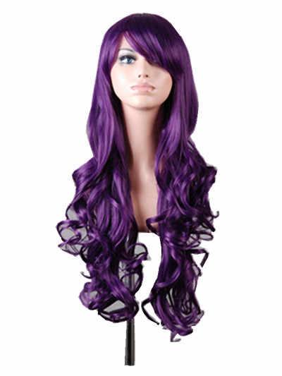 Косплей Фиолетовый парик Fei-Show Синтетические длинные кудрявые Хэллоуин женские синие волосы карнавальный костюм косплей наклонные челки накладные волосы