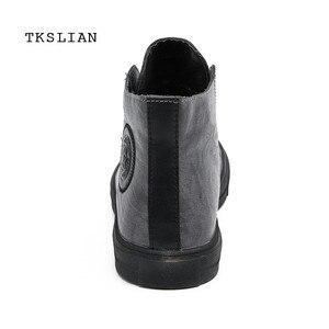Image 4 - Classic High Tops sneakers mannen schoenen PU leer mode mannelijke enkellaarsjes grijs zwart flats effen kleur schoenen Mans schoeisel
