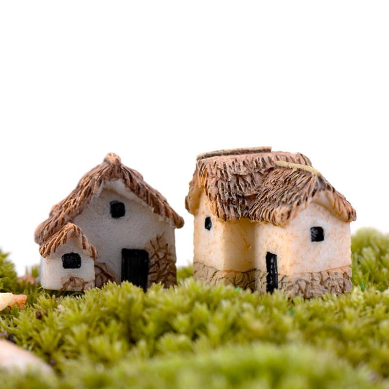 WINOMO 4PCS Miniature Gardening Landscape Micro Village Stone Houses Thumbnail House Thatched Huts for Garden Decor 1