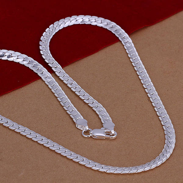 2270659626fe placeholder 925 sterling silver jewelry necklaces for women statement  choker fashion 5mm flat chain men s long necklace