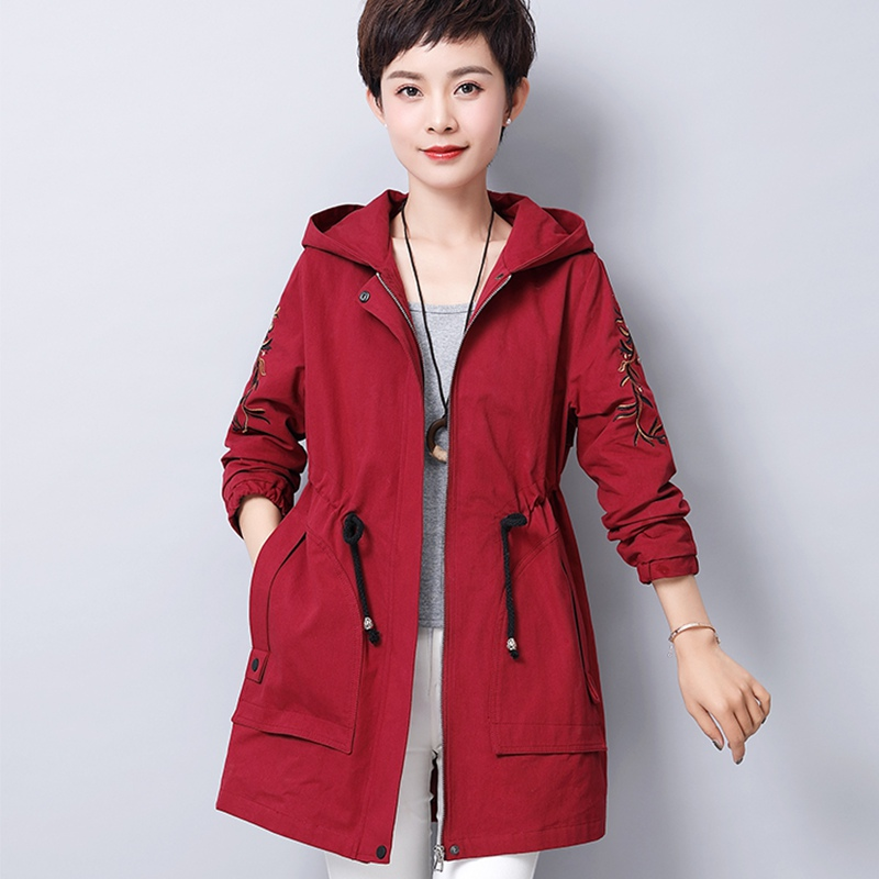 2019 New Arrival Hooded Trench Coat Women Embroidery Adjustable Waist Cotton Ladies Outerwear Plus Size 5xl Female Overcoat Tops