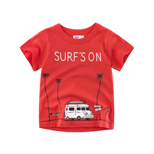 2019 Summer Boys T Shirts Cotton Short Sleeve  Animal Printed Red Baby Kids Children Girls Clothes