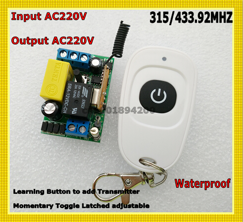 220V AC Mini Remote Switch Input Output 220V Learning Code ASK RF Wireless Switch Radio Transmitter Receiver 315/433 Big Button m3 m4 5a m3 touch rf remote with m4 5a cv receiver led dimmer controller dc5v dc24v input 5a 4ch max 20a output