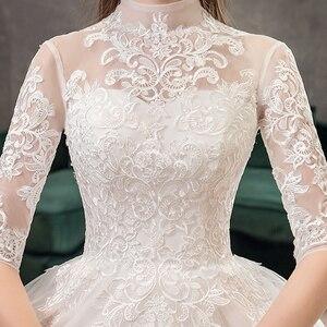 Image 5 - Mrs 勝利レース刺繍のウェディングドレスビッグトレイン 2020 ハイネック半袖のウェディングドレスヴィンテージブライダルドレス ×