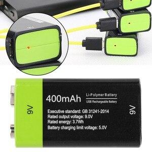 Image 2 - 9V 400mAh USB נטענת 6F22 Lipo סוללה עבור מודד מיקרופון מרחוק