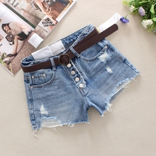 2019 Blue Women's Denim Shorts Summer Single Breasted Hole High Waist England Style Cotton Washed Broad Foot Denim Shorts 9978