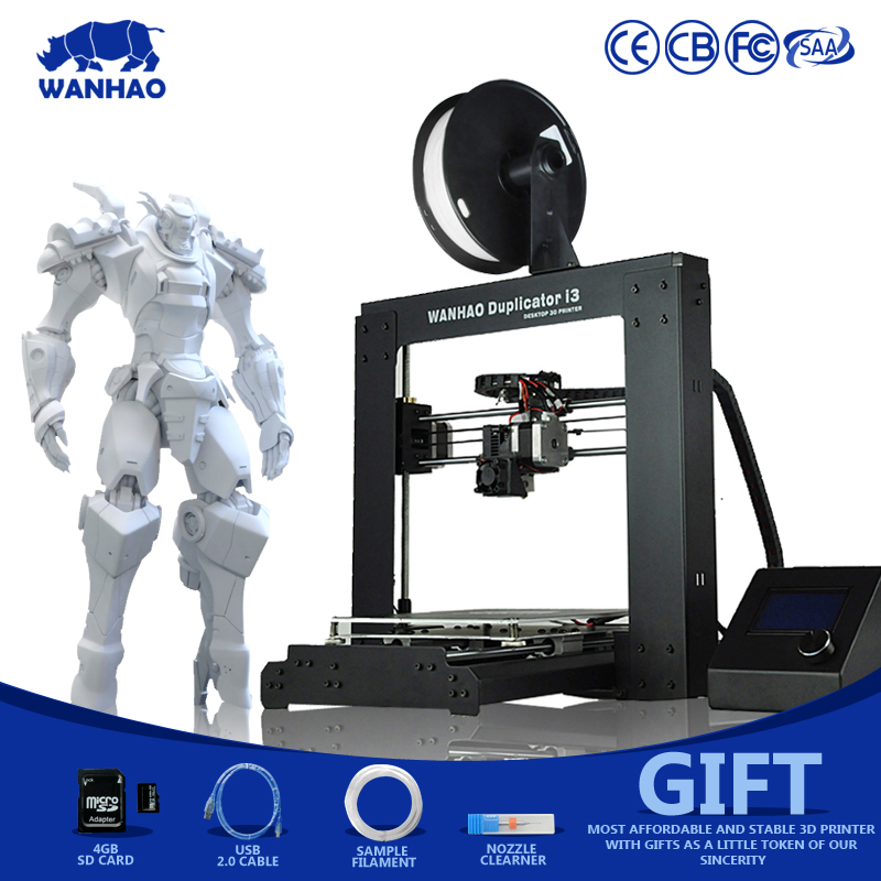 Wanhao factory cheap high quality Duplicator I3 V2.1 (Prusa i3) 3D Printer kit metal frame with heated bed and LCD SD-card high quality factory cheap 3d printer for sale with two rolls filament sd card lcd masking tape for free