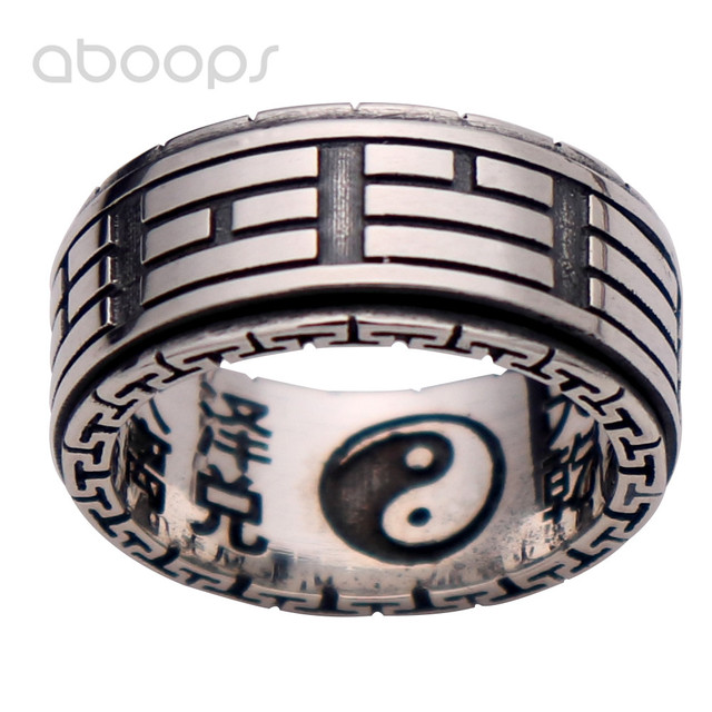 10mm Vintage Black 925 Sterling Silver Taoism Bagua Yin Yang Spinner Ring Band Jewelry for Men Women Size 8 9 10 11
