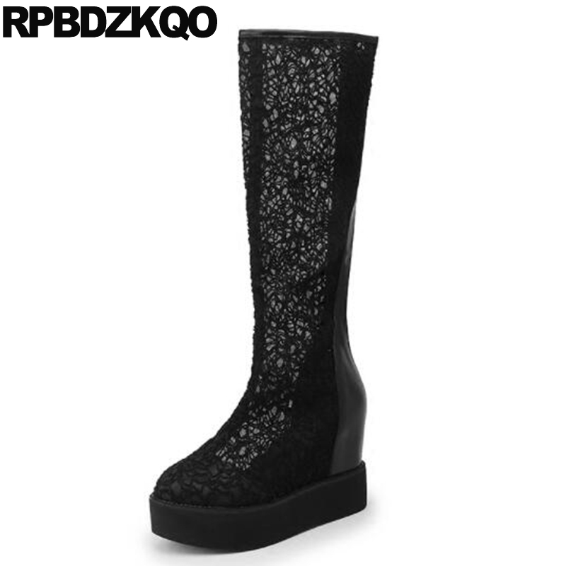 Women Boots Platform Shoes Height Increasing Knee High Round Toe Black Fetish Lace Mesh Extreme Heel Wedge Fashion Muffin Female high heel slip on rivet wedge peep toe mid calf boots extreme height increasing fashion summer stud muffin women shoes black