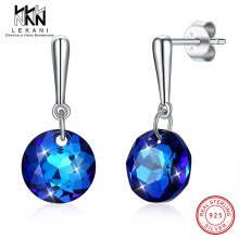 купить Round Blue Crystals From Swarovski Drop Earrings For Women Elegant 925 Sterling Silver Ear Fine Jewelry Wedding Anniversary Gift в интернет-магазине