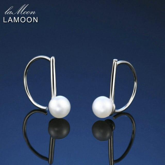 LAMOON 0.5*0.5cm Freshwater Pearls Earrings Korea Style 100% 925 Sterling Silver
