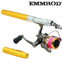 Hot 1.3m Pocket Pen Fishing Rod Aluminum Alloy Fishing Rod Pole With Stainless Steel Spinning Wheel Reel Set Gift rods