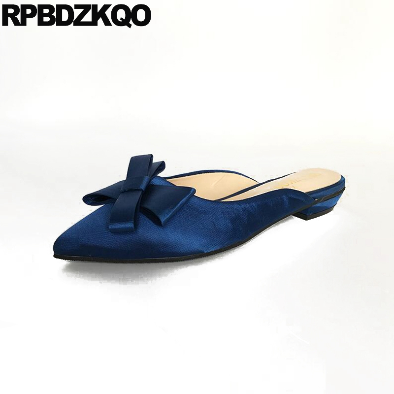 Large Size Women Slippers Sandals 12 44 Bow Satin Navy Blue Pointed Toe 13 Mules Custom 2017 Ladies Beautiful Flats Shoes Cute casual shoes women office ladies shoes lady cute bow tie pointed toe flats female cute spring