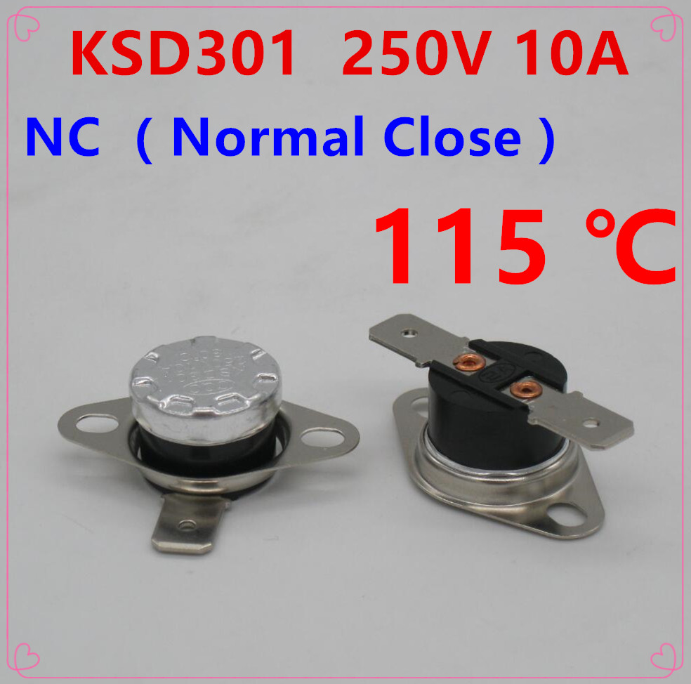 KSD301 250V10A Thermostat Thermal Temperature Control Switch 0°C-140°C NO//NC