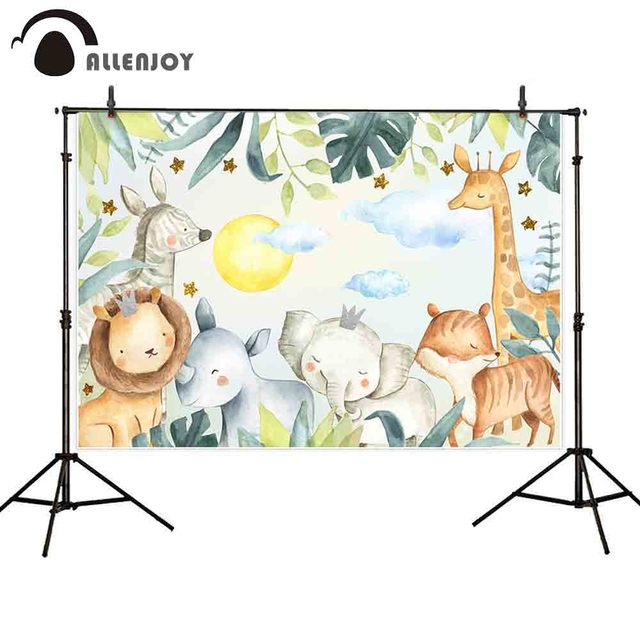 Allenjoy animal photography background zoo jungle baby elephant lion backdrop photocall photo studio shoot prop fabric cloth
