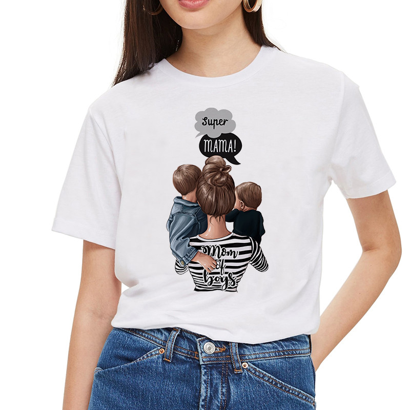 SexeMara 2019 Mommy's Love Female T-shirt Mom And Daughter T Shirt Women Super Mama Print White T-shirt Streetwear Vogue T Shirt