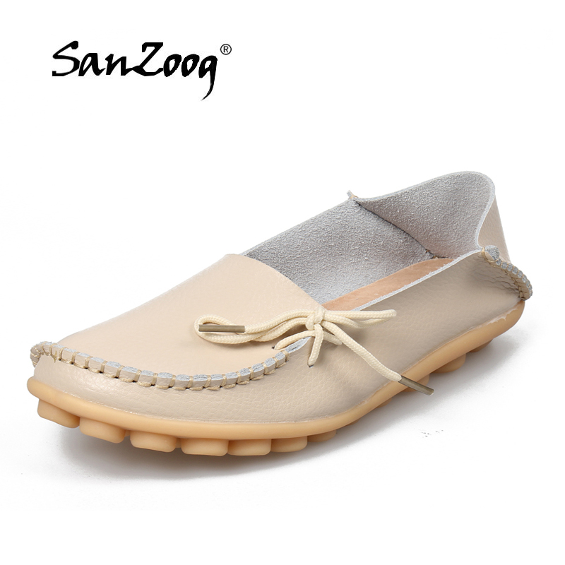 Plus Size 35-44 Flats Shoes Women Genuine Leather Students Girls Casual Loafers Driving Shoes for Female Footwear