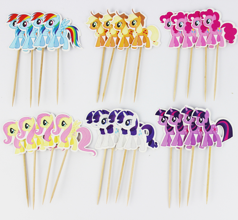 24Pcs/lot Little Pony Cupcake Topper Picks Birthday Party Decorations For Birthday Party Decor