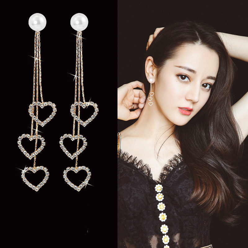 2019 New Arrival Alloy Trendy Heart Women Dangle Earrings Loving Tassel Earrings Korean Earrings Super Long Pendant Jewelry