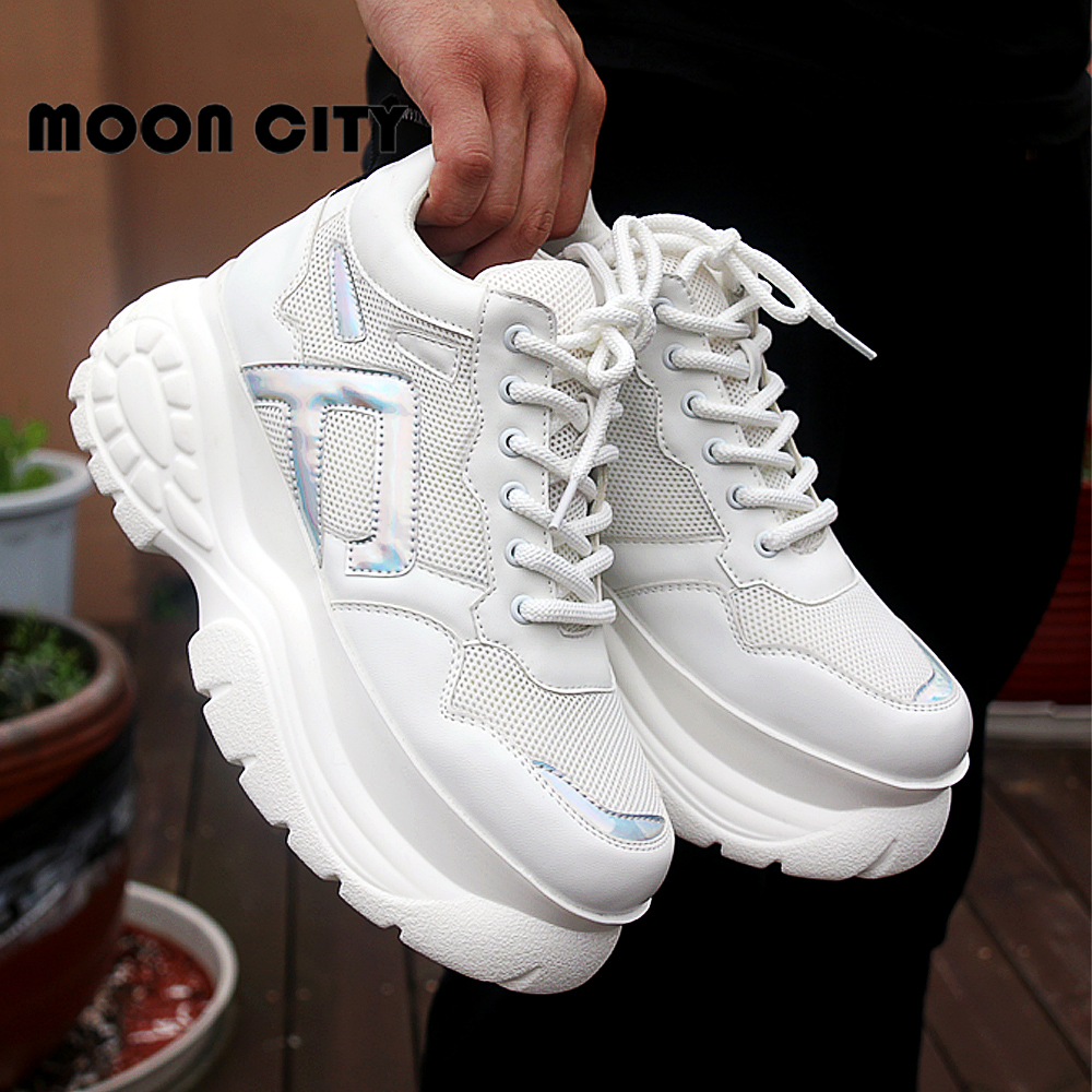 Image 3 - Womens Sneakers 2019 new fashion thick high platform women's sports shoes chunky casual tennis shoes ladies brand mesh shoes-in Women's Vulcanize Shoes from Shoes
