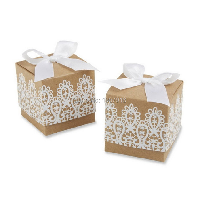 100pcs rustic lace kraft favor box kraft paper candy boxes rustic wedding centerpieces decoration mariage - Aliexpress Decoration Mariage