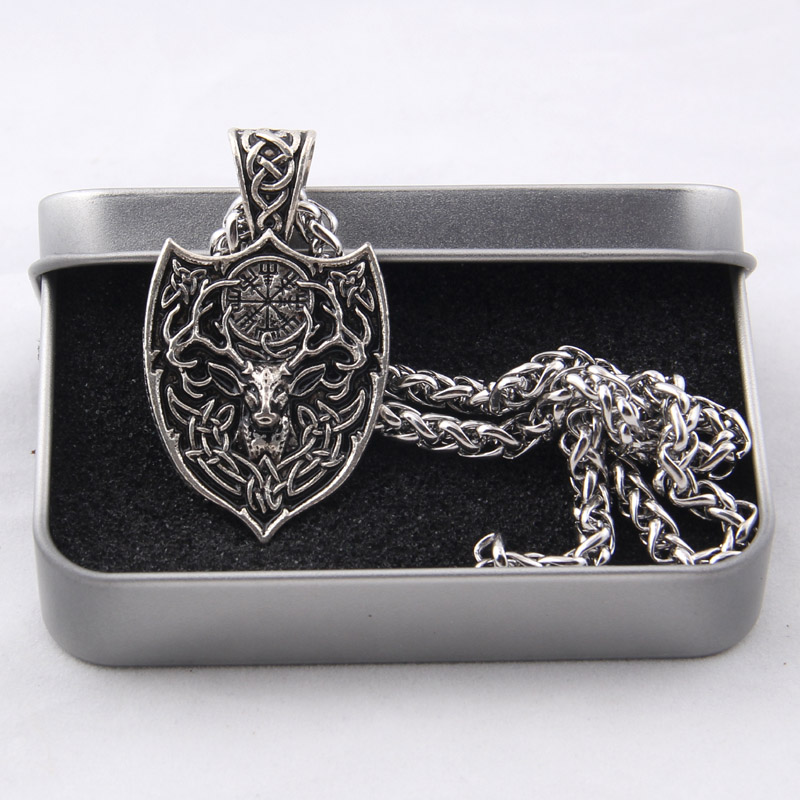 Yage 1pcs Legendary Viking Aegishjalmur Amulet Pendant Necklace Large Double Deer Sekira Viking Nordic Talisman Pendant Necklace