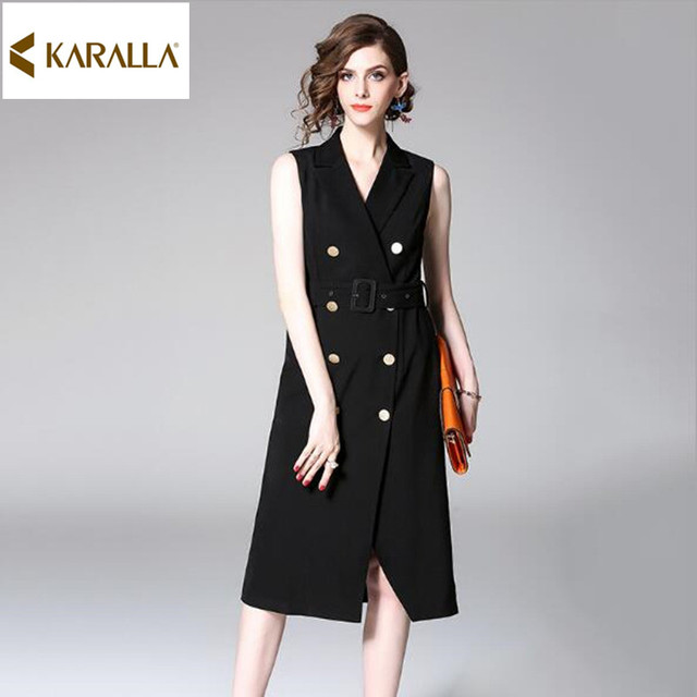 7ee4776ae184e 2017 women autumn winter runway fashion solid print sashes double breasted  sleeveless knee-length slim