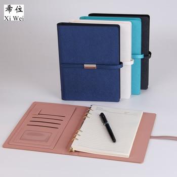 Pu Leather Loose Leaf Notebook  Hardcover Journal  ring binder Woodfree  Paper Clip planner Custom Logo Metal Magnet Buckle
