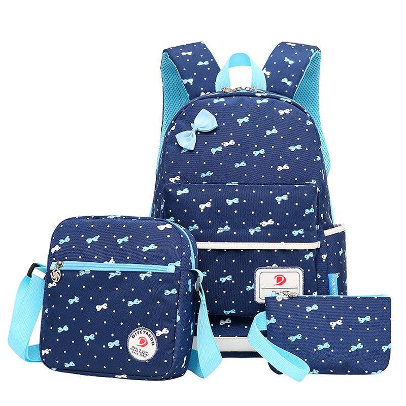 2018 3 шт./компл. Мода Печать школьные сумки для Обувь для девочек лук рюкзак ранцы высокой емкости путешествия Рюкзаки школьный рюкзак