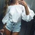 2016 Primavera Verão Outono Novas Camisas Das Mulheres de Slash Neck Top rosa branca flare blause manga comprida casual solto tops blusa feminina
