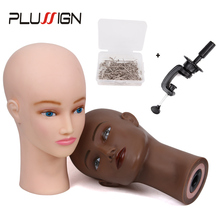Eyelash Makeup Practice Training Manikin Bald Head Model Mannequin Head With Head Stand And T-Pins Wig Making Tools Hat Display