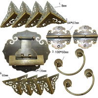 Brass Hardware Set Antique Wooden Box Knobs and Handles +Hinges +Latch +Lock+Corner Protector Furniture Decoration