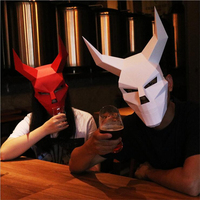 Origami DIY 3D High Quality Belt Angle Devil Stereoscopic Paper Hellboy Mask Cosplay Halloween Party Amusing