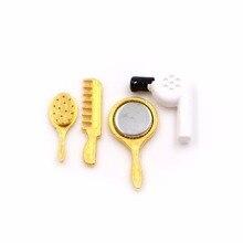 4 Teilesatz Kinder Toys112 Dollhouse Miniature Praktischer Badezimmer  Zubehör Kamm Fön Spiegel