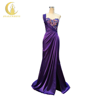 Rhine Real Image Sample Sexy One Shoulder Purple Luxurious Crystal Fashion Hand Sew Satin Slit Party