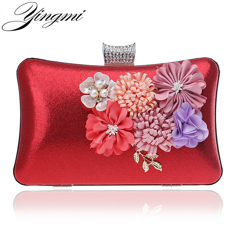 YINGMI Appliques Fashion Candy Color Evening Bags Beaded Leaf Fower Lady Evening Bag Girl's Day Clutches For Party Wedding