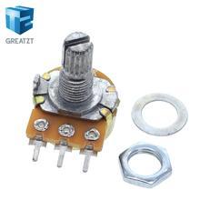 Стерео/pa/уплотнительный потенциометр WH148, B1k, B2k, B5k, B10k, B20k, B50k, B100k, B250k, B500k, B1M, 15 мм, 3 контакта с переключателем, 10 шт.