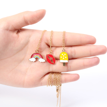 Enamel Colorful Rainbow Bridge Cloud Necklace Cartoon Ice Cream Popsicle Red Color Lip kiss mouth Chain jewelry