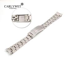 CARLYWET 20mm Silver Stainless Steel Solid End Screw Links Glide Lock Clasp Steel Watch Band Bracelet For GMT Submariner watchband for rolexwatch solid stainless steel watch bands bracelet watch accessories silver 20mm 21mm submariner man watch tool