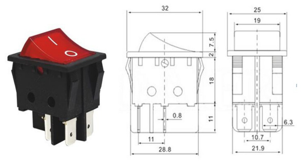 KCD4 Rocker Switch Power Switch ON-OFF 2 Position 4 Pins With Light on dpdt rocker switch, 15a 120v rocker switch, 4 terminal rocker switch, dpst rocker switch,