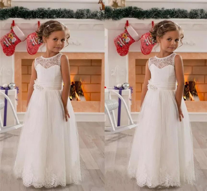 Real Picture Lace Flower Girls Dresses for Weddings Tulle White Princess Jewel Neck First Communion Dresses Floor Length fashionable lace panelled jewel neck slit top for women